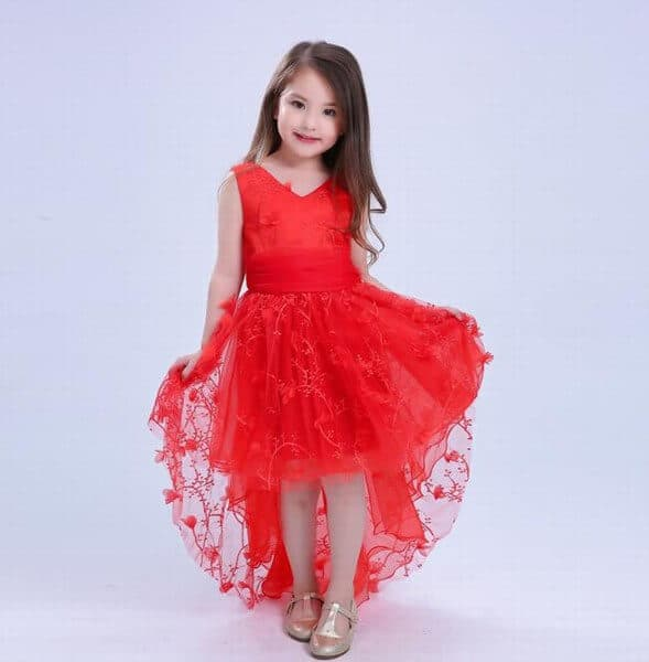 Kids Flower Girls Lace Tulle Formal Party Dress Online