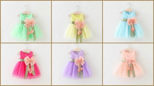 Big Bowknot Newborn Baby Girl Special Occasions Dresses