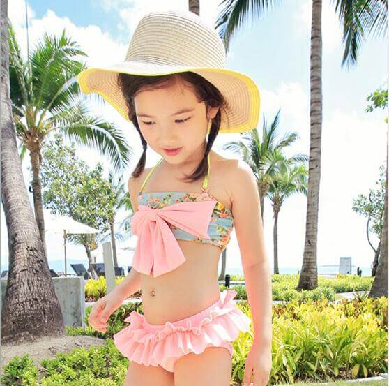 Peach Color Toddler Girls Swimsuits, Bathing Suits & Bikini Set