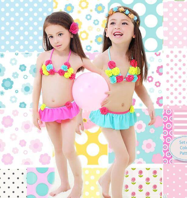 Two Piece Little Girls Swimwear and Bathing Suit