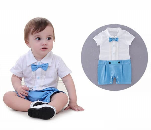 Baby Boy First Birthday Bowtie Outfit One Piece Romper Set