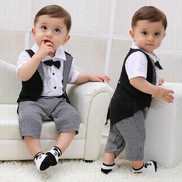 570f0aade663 Little boy One Piece Wedding Tuxedo Formal Check Romper Outfit · Baby Boy  one pcs Birthday Formal Romper Outfit Clothing Set