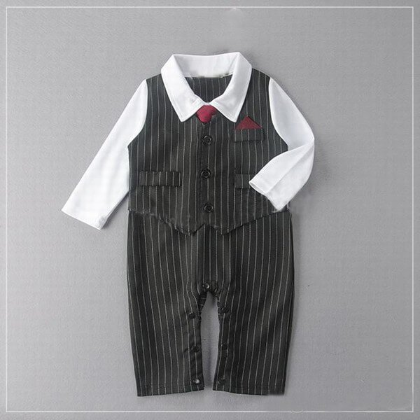 Little boy One Piece Wedding Tuxedo Formal Check Romper Outfit