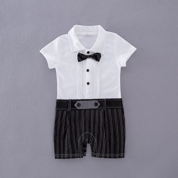 White Baby Boy Tuxedo Short Sleeve One-Piece Romper Suit