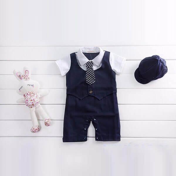 infant Boys Blue Romper Waistcoat Suit