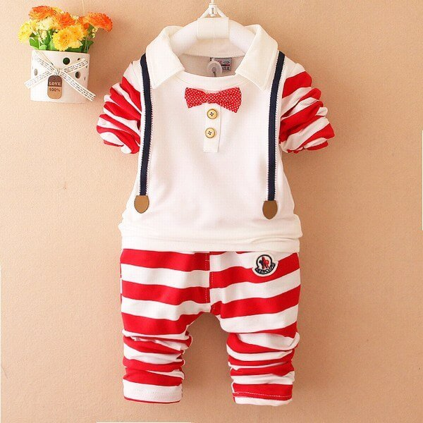 Baby Boy Red and White Striped Birthday Outfit