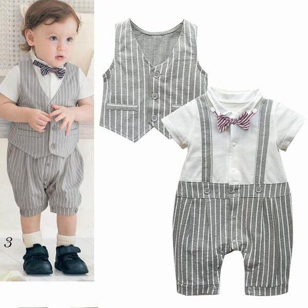 Kids Boy Suspender Bowtie Partywear Romper Suit