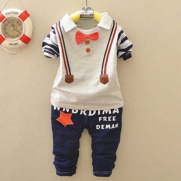 Toddler baby Boy Suspender Style Party T-shirt Blue Pant
