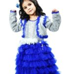 Baby Girl Silver Sequins Royal Blue Multi Layered Dress