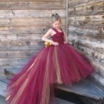Party Wear Plum Lace Tulle Floor Length Little Girl Tutu Dress