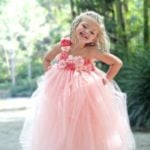 Pink Flower Full Length Baby Girl Party Tutu Dress
