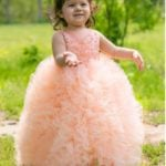 Baby Girls Princess Look Peach Long Length Party Dress Online India