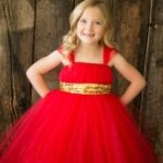 Toddlers Long Red Tutu Dress Birthday Girls