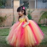 Yellow and Hot Pink Baby Toddler Long Birthday Tutu Dress