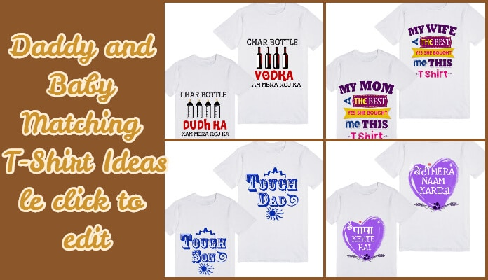 personalized Daddy and Baby Matching T-Shirts - Father Daughter and Son Tees India