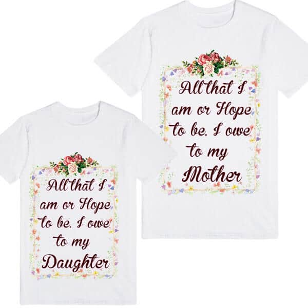 Floral Printed Personalized Mother and Daughter Family Tees Set