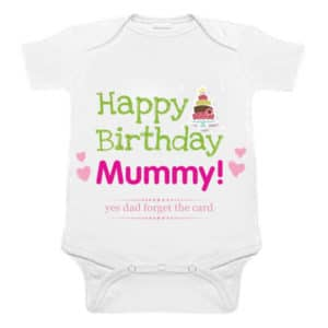 """Happy Birthday Mummy"" Custom Printed Baby Romper India"