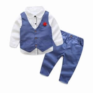 Baby Boys 3-Piece Party waistcoat Suit, Blue birthday outfit