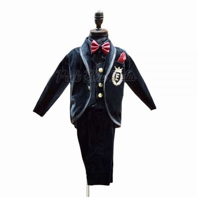 5 Piece Boys Black Velvet Tuxedo Suit