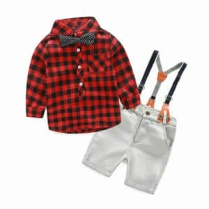 Baby Boys Bow Tie Shirt and Suspenders Shorts Sets