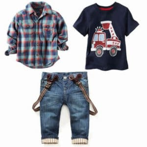 Simply Boys Button-Front Shirt with T-shirt and Suspenders Denim Pant