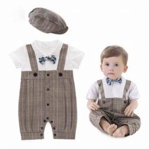 Toddler Boys Brown Ring Bearer Romper Suit, Baby Boy Clothing, Kids fashion Wear