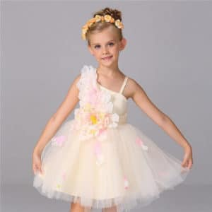 Champagne Flower Girl Birthday Dress, Princess Party Frock, Baby Clothing