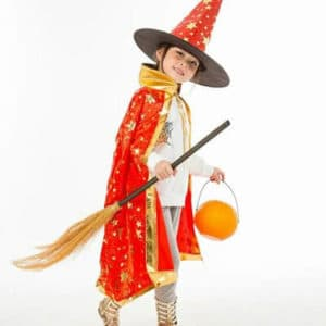 Child Halloween Costume Red Wizard Witch Cloak Cape Robe