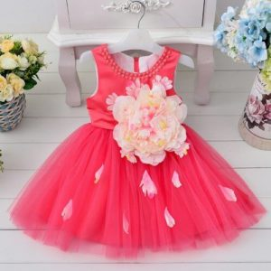 Cute Hot Pink Flower Girl Dress, Baby party dress, Baby Girl Clothes India