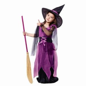 Kids Girl Purple Halloween Witch Fancy Dress Costume