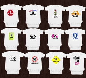 Baby Custom Monthly Milestone Onesies, baby shower gift ideas