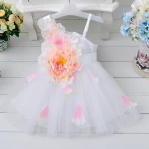 Modern Baby White 3D Flower Girl Party Dress, Kids birthday wear online