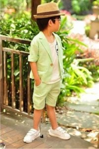 Smart Green Linen Blazer with Pants for Kids