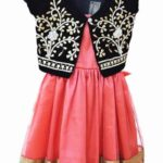 Little Girls Designer Frock with Gota Pati Jacket
