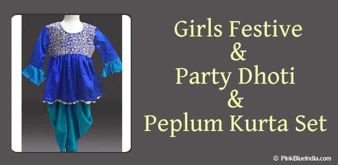 Girls Festive, Party Dhoti Peplum Kurta Set