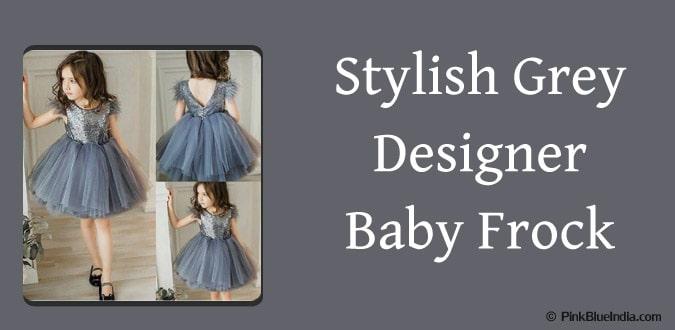 Grey Designer Baby Frock, Diwali Stylish Frock