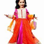 Kids Orange Pink Designer Lehenga