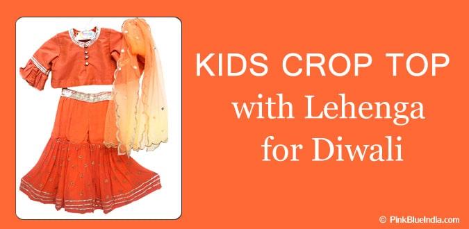 Kids Crop Top with Lehenga Diwali