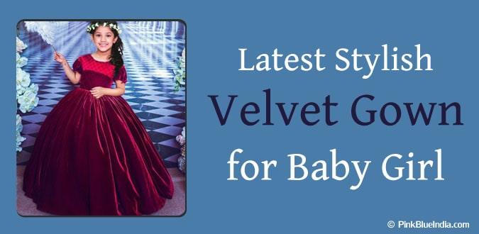 Baby Girl Velvet Gown - Diwali Kids Indian Dresses