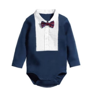 Baby Boy Full Sleeve Tuxedo Bow tie Style Romper Outfit, Newborn Baby Clothes India
