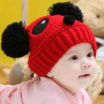Children Crochet Fuzzy Panda Bear Cap, baby Winter hats