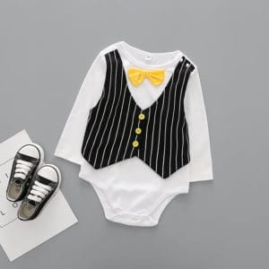 Newborn Baby Formal Romper Onesie, Waistcoat and Bow Tie Romper Suit Online