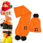 Orange Woolen Cap and Muffler Set for Kids