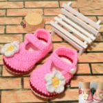 Pink Baby Booties with White Flower