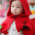 Red Baby Cloak with Earmuffs, Gloves Knitting Pattern