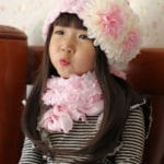 Stylish Baby Pink and Off-white Flower Winter Cap