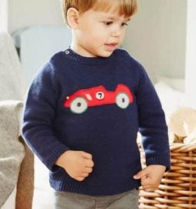 Baby Boy Blue Car Print Sweater, Kids Baby Sweater India