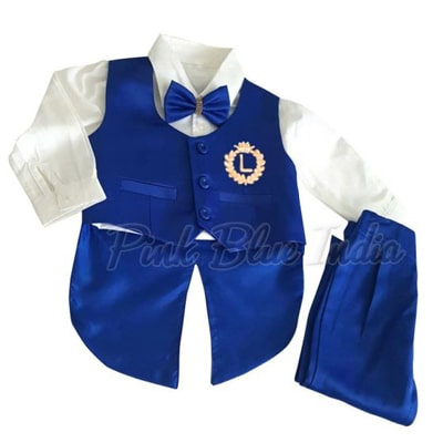 Formal Tailcoat Wedding Suit, Royal Blue Outfit for Baby Boy