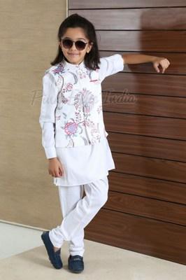 Baby Boy White Kurta Pajama - kids Nehru Jacket