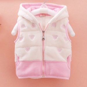 Baby Girl Sleeveless Winter Hood ed Jacket, Kids Half Sleeve Jacket